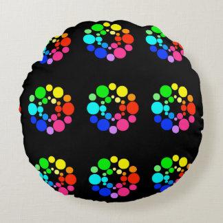 Almofada Redonda Travesseiro da roda de cor, preto