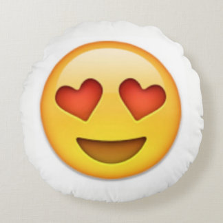Almofada Redonda Travesseiro de Emoji do olho do coração