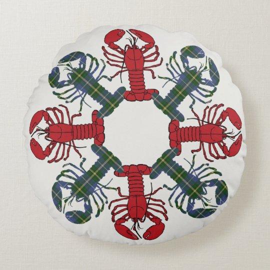 Almofada Redonda Travesseiro de N.S. Tartan Natal do floco de neve