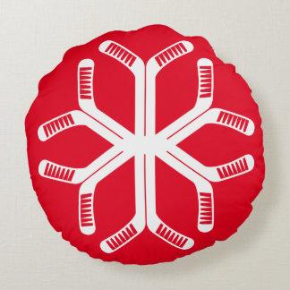 Almofada Redonda Travesseiro decorativo do floco de neve das varas