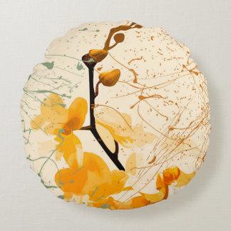Almofada Redonda Travesseiro decorativo redondo da orquídea amarela