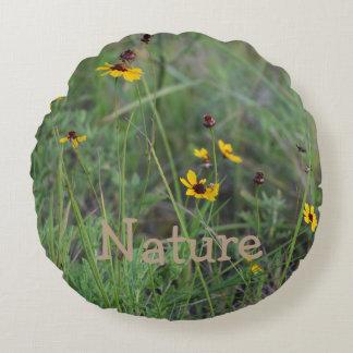 Almofada Redonda Travesseiro decorativo redondo do campo de flor