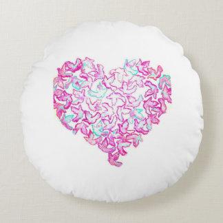 Almofada Redonda Travesseiro decorativo redondo do coração e da