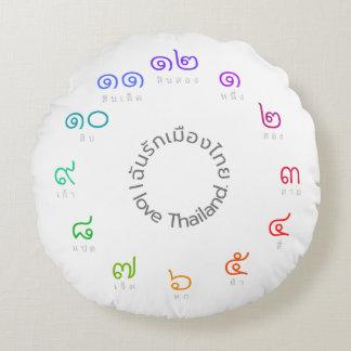 """Almofada Redonda Travesseiro decorativo tailandês dos números """"eu"""