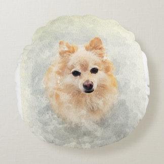 Almofada Redonda Travesseiro do amante de Pomeranian! Cão de