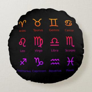 Almofada Redonda travesseiro preto redondo do zodíaco