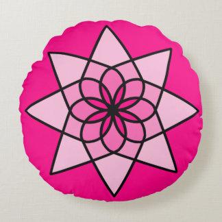 Almofada Redonda Travesseiro redondo da flor geométrica cor-de-rosa