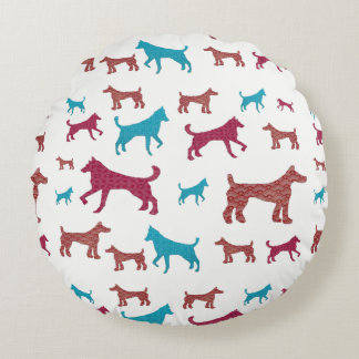 Almofada Redonda Travesseiro redondo da silhueta do cão