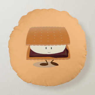 Almofada Redonda Travesseiro redondo de sorriso de S'more |