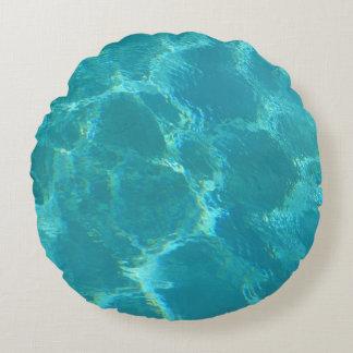 Almofada Redonda Travesseiro redondo do acento da água azul de