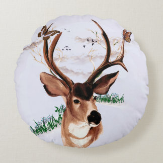 Almofada Redonda Travesseiro redondo dos cervos da borboleta