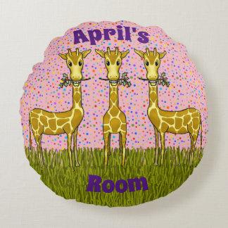 Almofada Redonda Travesseiro redondo dos girafas