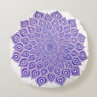 Almofada Redonda Travesseiro violeta da mandala de Chakra da coroa