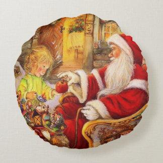 Almofada Redonda Trenó do papai noel - ilustração de Papai Noel
