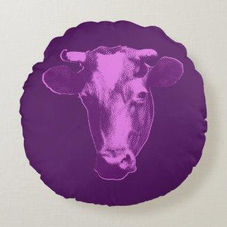 Almofada Redonda Vaca cor-de-rosa & roxa do pop art