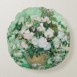 Almofada Redonda Vaso de Van Gogh com arte floral do vintage