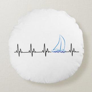 Almofada Redonda Veleiro engraçado da pulsação do coração da
