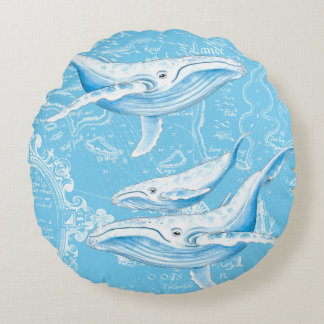 Almofada Redonda Vintage da família das baleias azuis