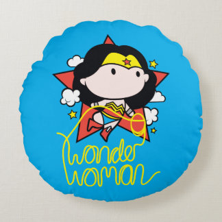 Almofada Redonda Vôo da mulher maravilha de Chibi com laço