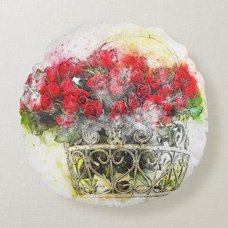 Almofada Redonda Watercolour floral da rosa vermelha do chique