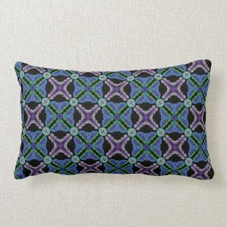 Almofada retangular Desenho azul verde lilás preto