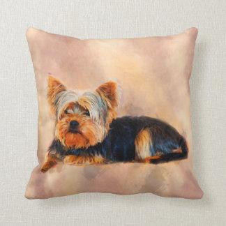 Almofada Retrato da aguarela da arte do cão do yorkshire