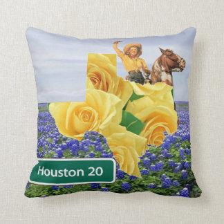 Almofada Rosa amarelo de Texas e vaqueira Houston dos