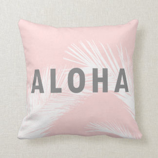Almofada Rosa cinzento das palmeiras da tipografia do