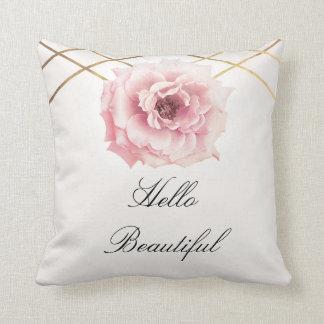 Almofada Rosa & da flor floral da peônia do ouro chique
