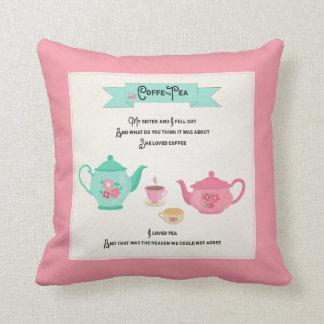 Almofada Rosa e verde da rima do café e do chá
