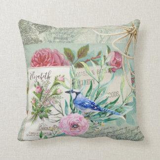 Almofada Rosa elegante do vintage do pássaro de Jay azul