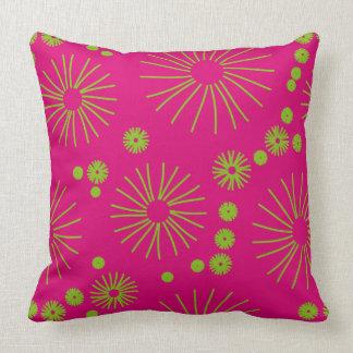 Almofada Rosa quente e travesseiro verde de néon das flores