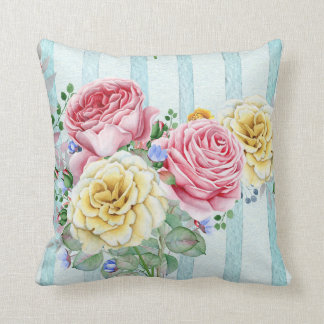 Almofada Rosas cor-de-rosa e amarelos