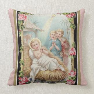 Almofada Rosas de Jesus do bebê da natividade do Natal