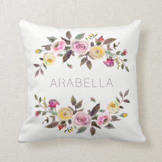 Almofada Rosas florais do Pastel da aguarela moderna   com
