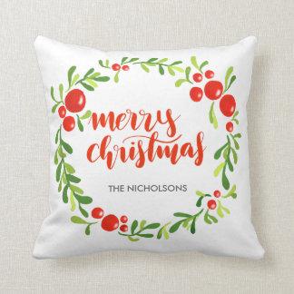 Almofada Roteiro do Feliz Natal da grinalda da aguarela das