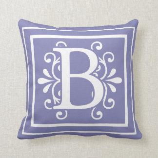 Almofada Roxo da pervinca do monograma da letra B