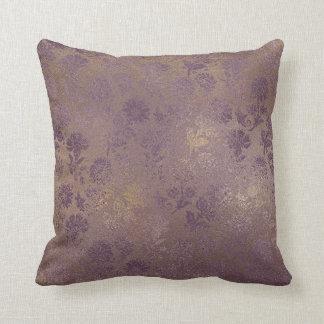 Almofada Roxo floral do travesseiro do damasco do ouro do