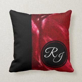 Almofada Rubi luxuoso & monograma inicial preto mais