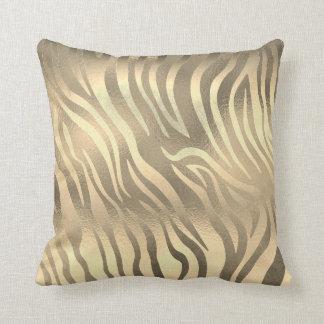 Almofada Safari animal da pele da zebra do ouro Glam do