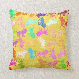 Almofada Safari brilhante cor-de-rosa amarelo tropical da
