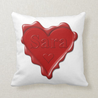 Almofada Sara. Selo vermelho da cera do coração com Sara