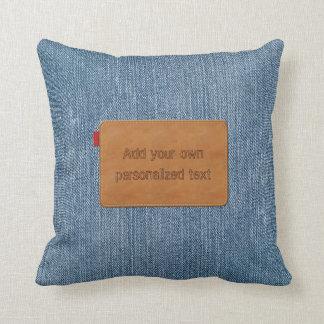 Almofada Sarja de Nimes azul de Jean do Tag de couro feito