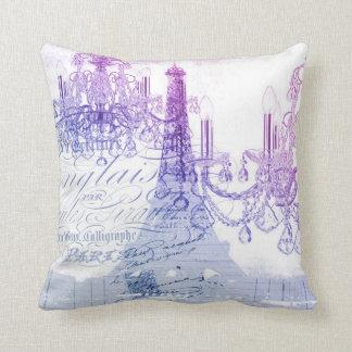 Almofada scripts a torre Eiffel roxa de Paris do candelabro