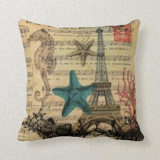 Almofada seashell da praia da torre Eiffel de Paris do