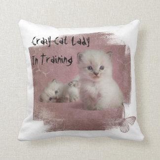 Almofada Senhora louca Treinamento do gato
