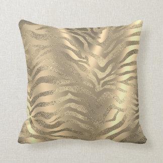 Almofada Sepia Glam da pele animal da zebra do ouro