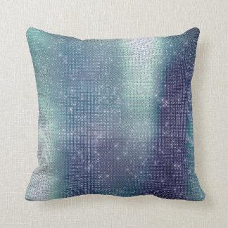 Almofada Sequin Sparkly metálico abstrato das cinzas azuis