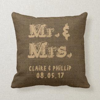 Almofada Serapilheira do Sr. & da Sra. Rústico Casamento