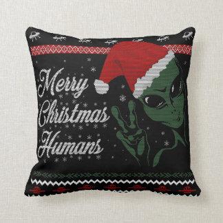 Almofada Seres humanos do Feliz Natal - travesseiro